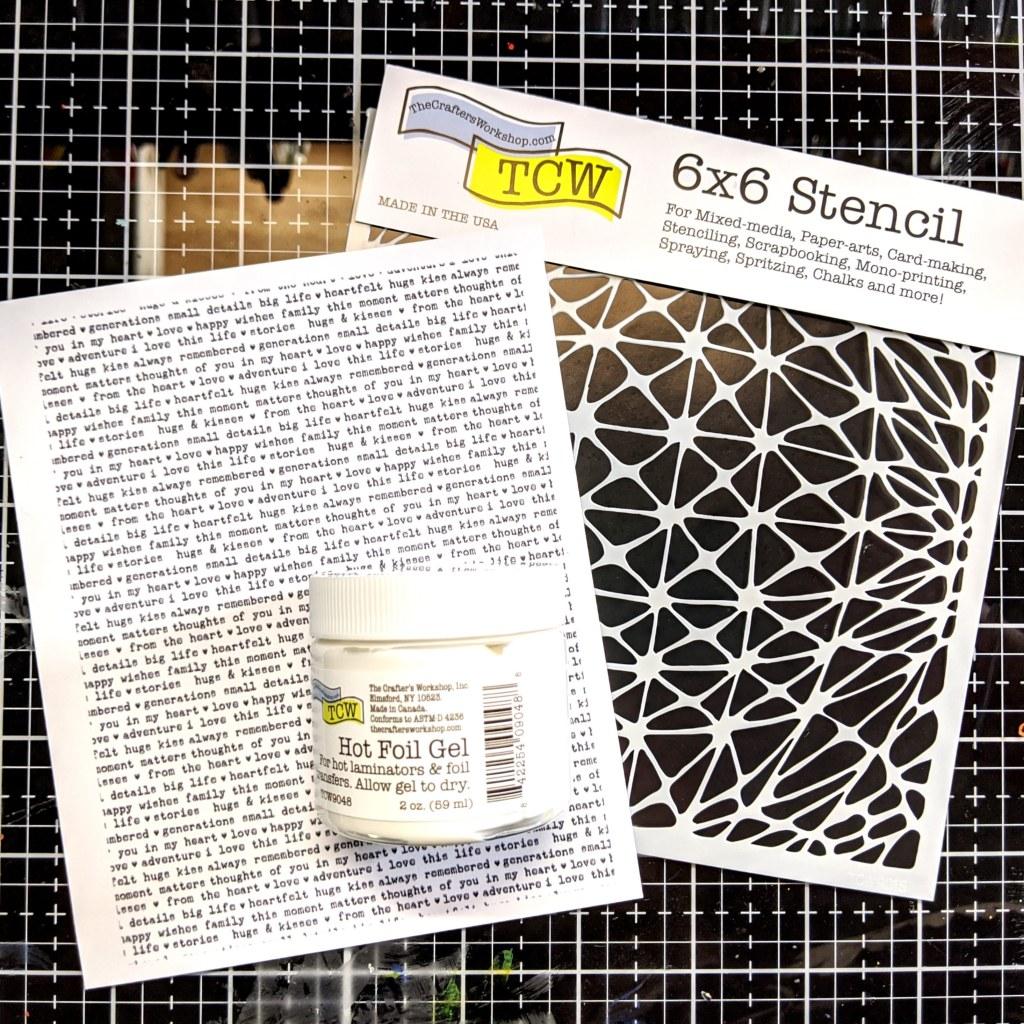 Geo Netting stencil (TCW 901s) and Hot Foil Gel (TCW9048)