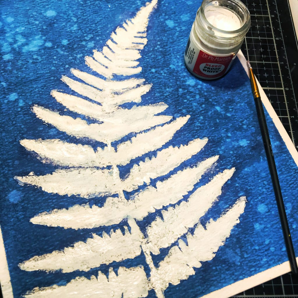 Dr. PH Martin's Bleed Proof White on TCW243 Ferns Stencil design on  TCW9051 Watercolor Paper with small paint brush