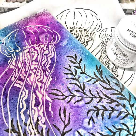 TCW9005 White Modeling Paste through 12x12 TCW917 Jellyfish Stencil