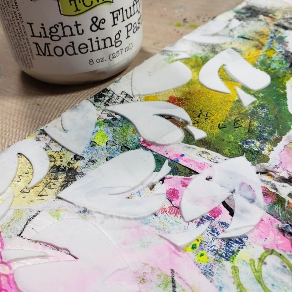 Added collage pieces and more Dance Leaves with Light & Fluffy Modeling Paste