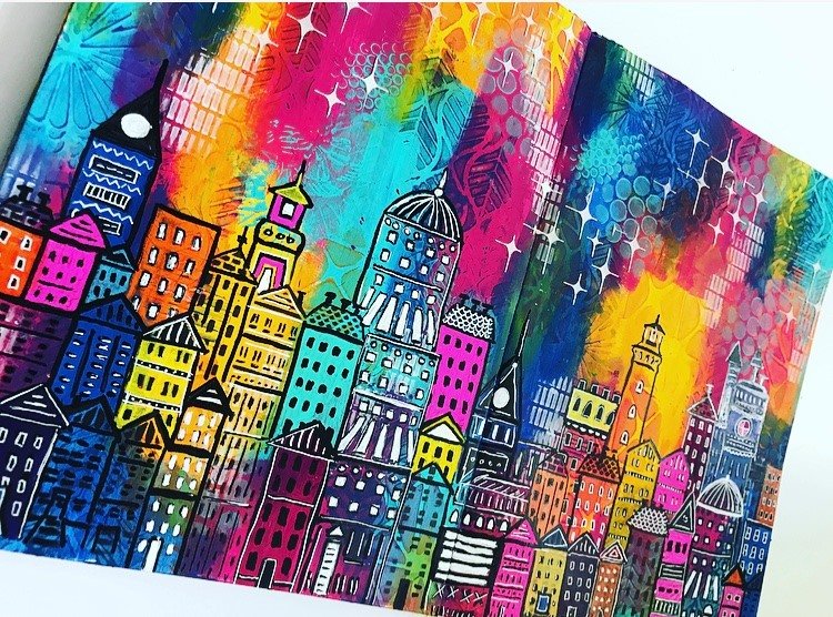art journal page  city scene with colorful rainbow sky Tammy Klingner #tcwstencillove