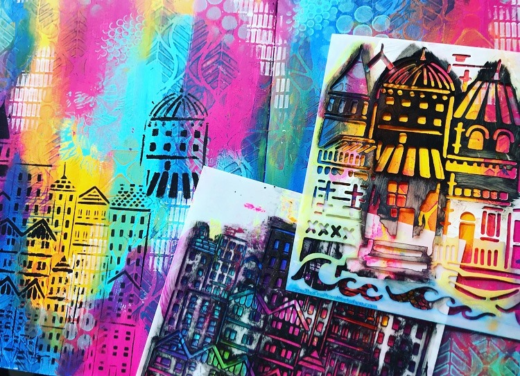 rubbing black paint through cityscape stencils by TCW