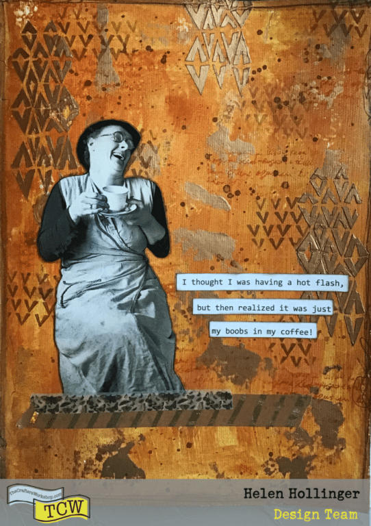 Finished art journal spread using stencils and modeling paste.