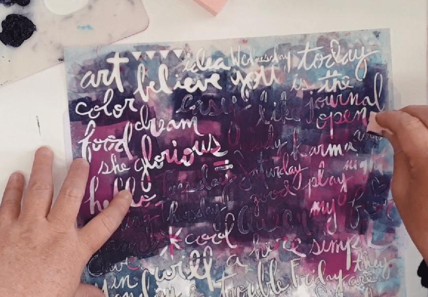 TCW832 Script Words stencil with Dina Wakley Media heavy body acrylic Night