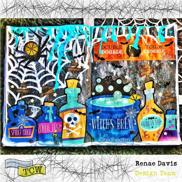 Spider Cider Halloween Art Journal Page by Renae Davis