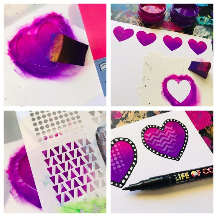 purple hearts created with a stencil as a mask and adding details with another patterned stencil on top