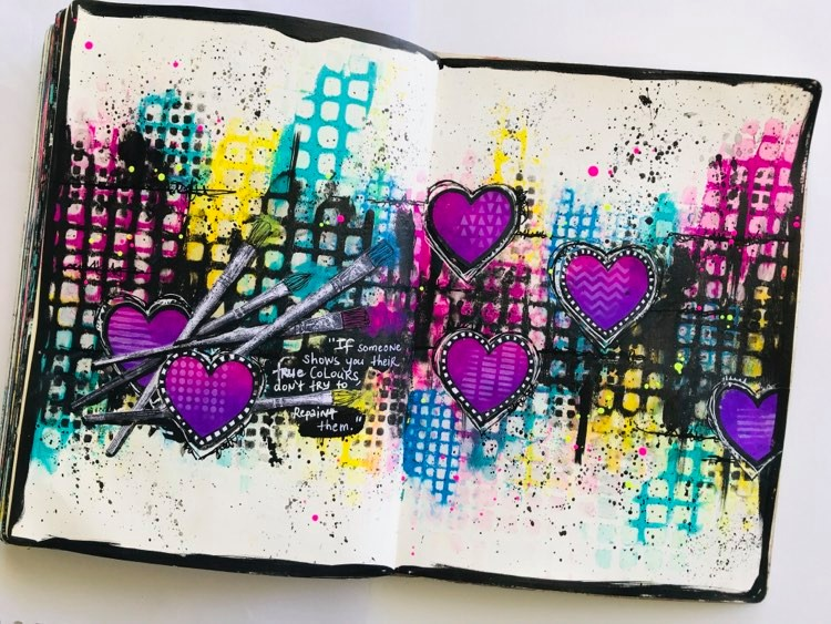 Grungy and colorful art journal page with stenciled squares and hearts and a black border #tcwstencillove Tammy Klingner