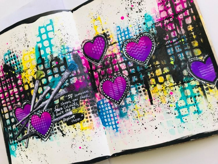 Brightly colored art journal page #tcwstencillove Tammy Klingner