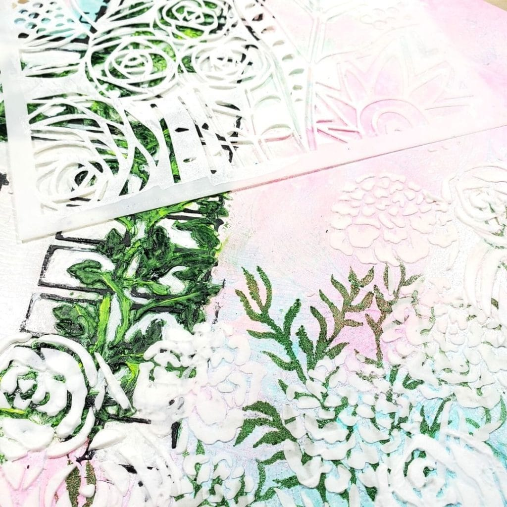 Using green paint I added the sea vine and then used Light & Fluffy modeling paste to add the rest of the flowers.