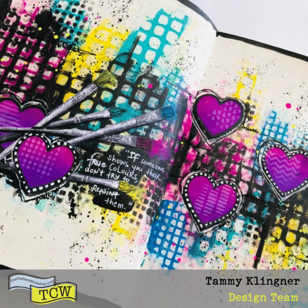 Brightly colored art journal page with hearts and paintbrushes #tcwstencillove Tammy Klingner