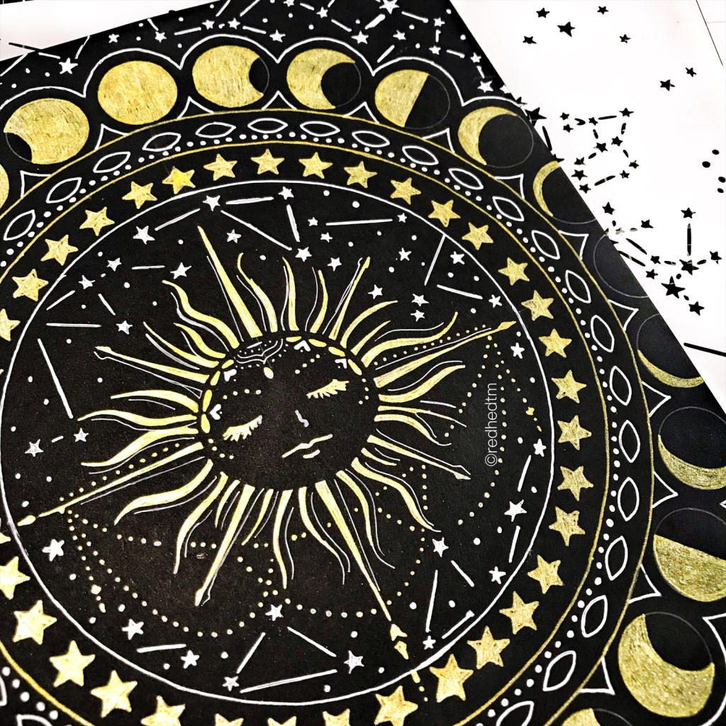 "12x12"" TCW734 Constellations Stencil with white gel on black card stock"