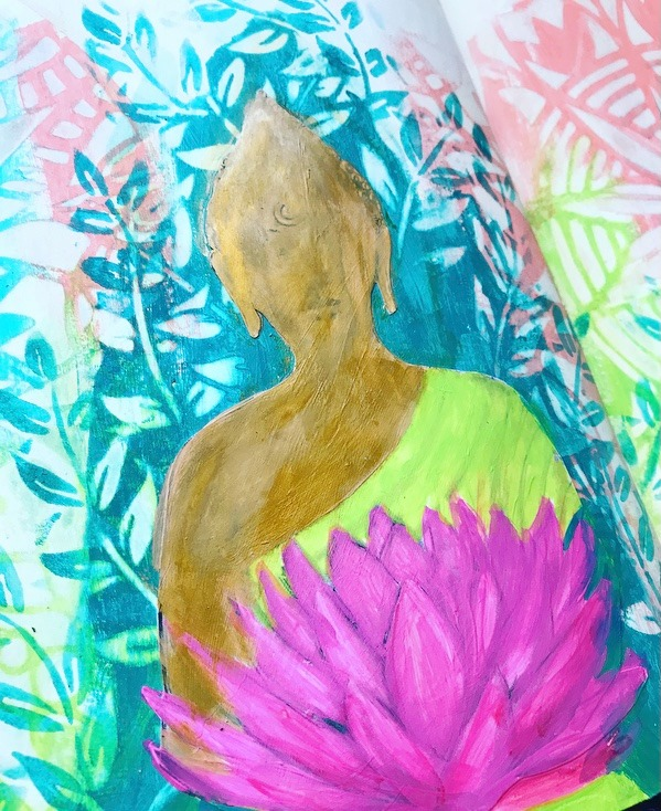 gold, lime and pink paint added to buddha image