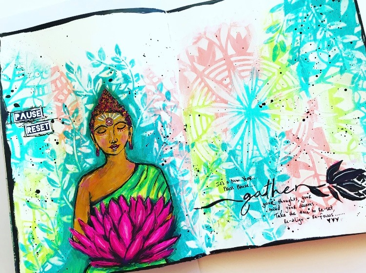 Art Journal page celebrating the New Year with pastel colors, a mandala and leaves and a buddha Tammy Klingner #tcwstencillove