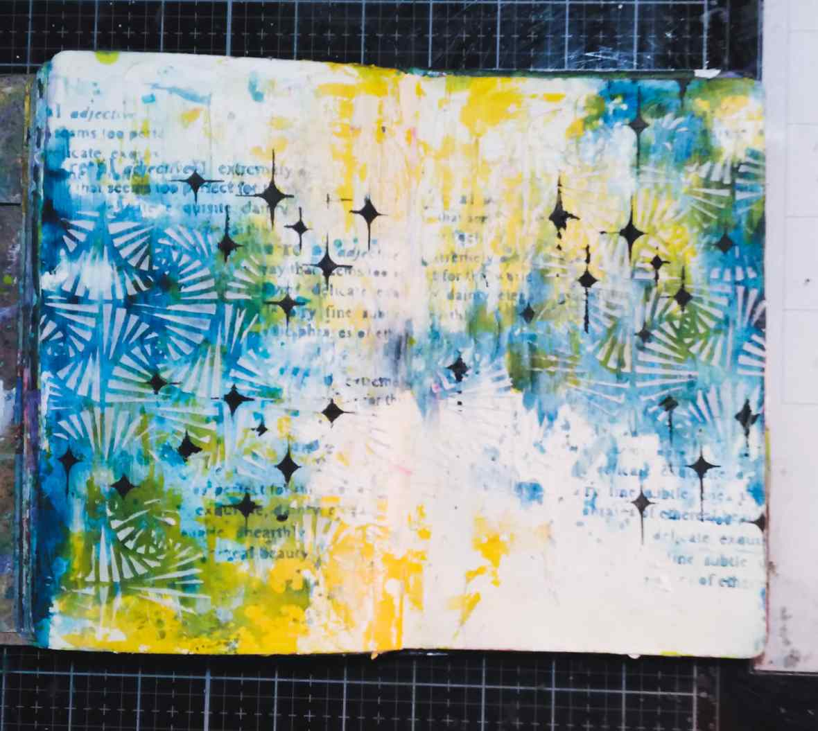 Background stenciling with acrylic paints, stencils and texture products