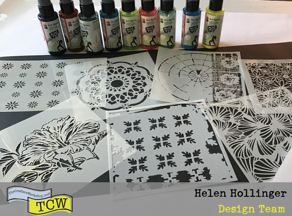 Stencils and acrylic sprays used for project on cardstock
