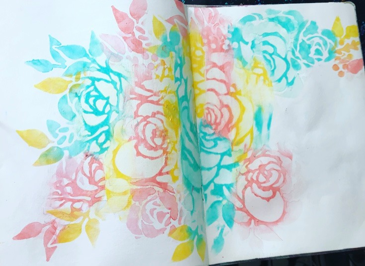 background of art journal page with pastel flowers and leaves