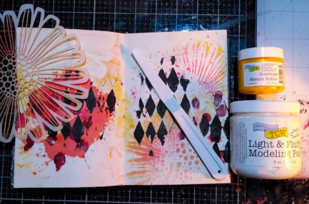 Art journal spread, background stenciling with the Crafter's Workshop stencils, modeling pastes and stencil butter