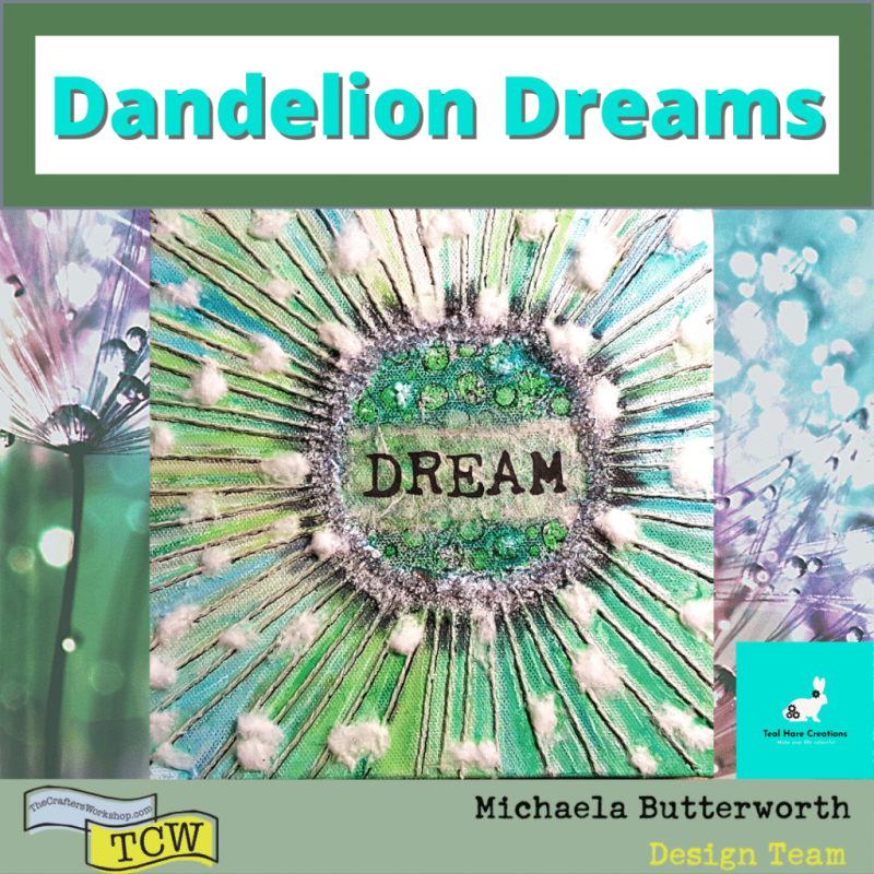 """Image showing the completed Dandelion Dreams 8"""" square box canvas with mixed media assemblage."""