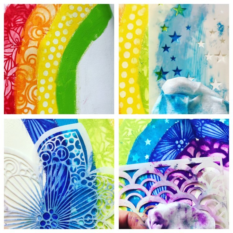 adding green, light blue and dark blue and purple to the rainbow and using a different stencil each time