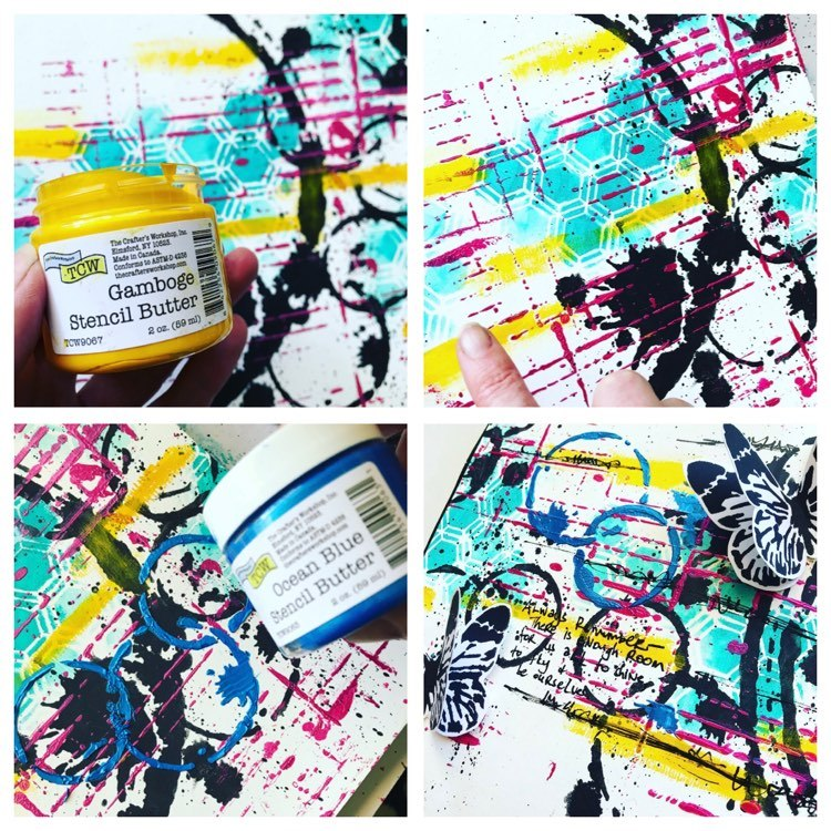adding highlights to art journal page using stencil butter in gamboge and ocean blue