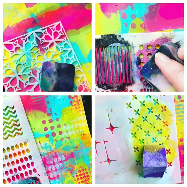 adding small patterns with various stencils and paint