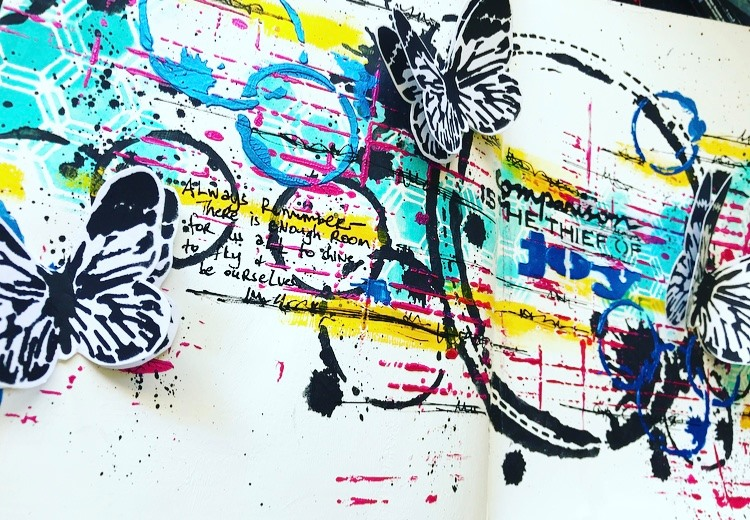 art journal page by Tammy Klingner with a white background and pops of color and butterflies