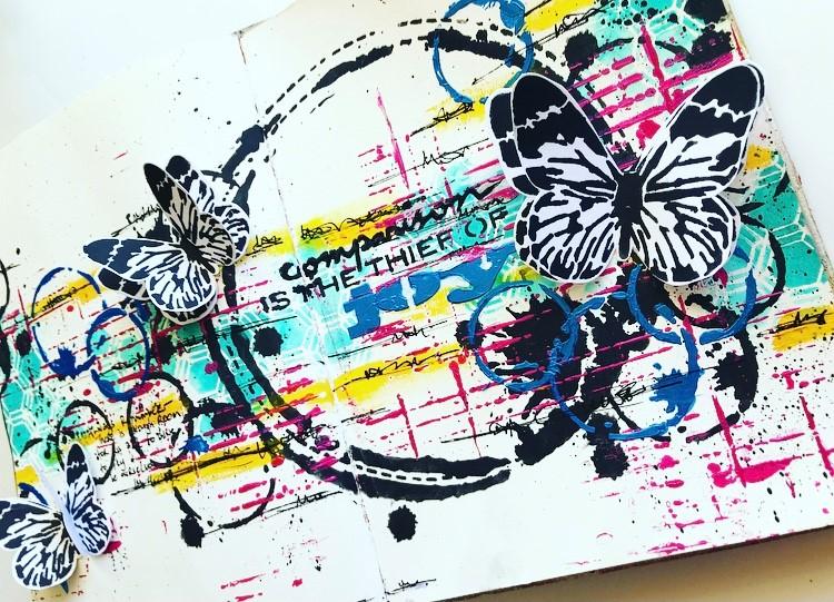 Finished art journal page by Tammy Klingner