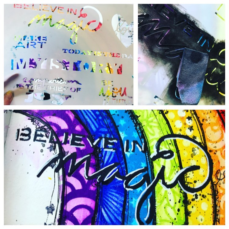 adding a title called 'believe in magic' by using a stencil and sponging black paint through it
