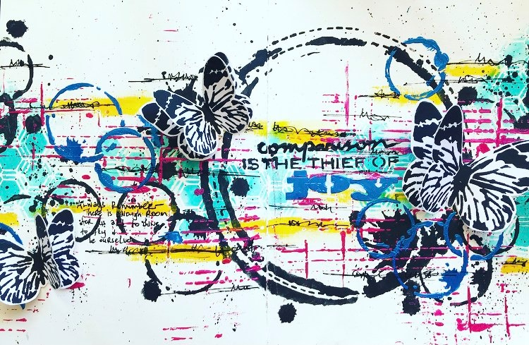 Art Journal page featuring circle stencils, honeycomb pattern and butterflies in black, white, yellow and pink #tcwstencillove Tammy Klingner