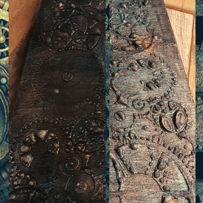 Close up of the left and right backgrounds, showing the Black modeling paste that has been applied through the Gears stencil.