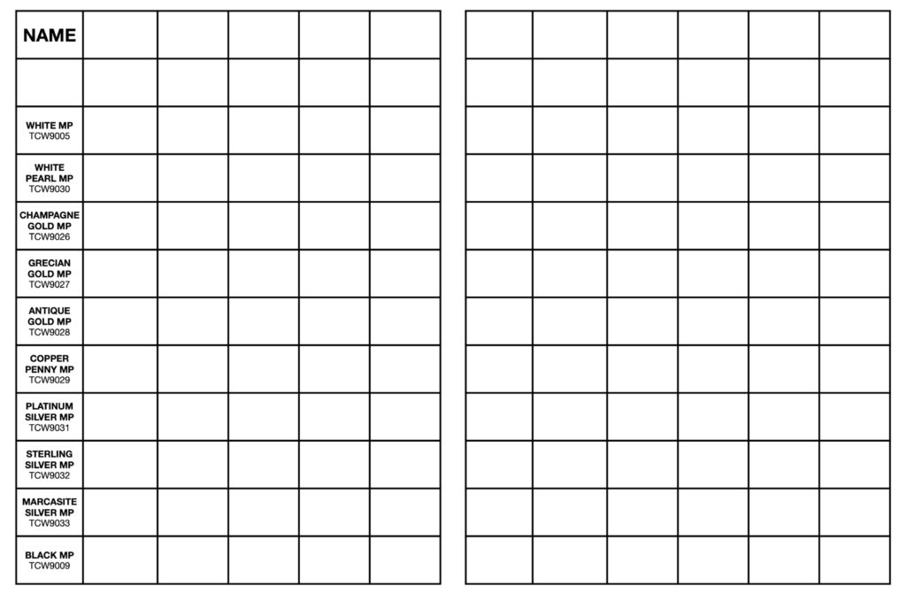 left: blank TCW modeling paste mixing chart // right: blank mixing chart