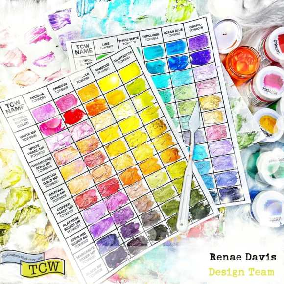 Stencil Butter Color Swatching Chart with Modeling Paste by Renae Davis