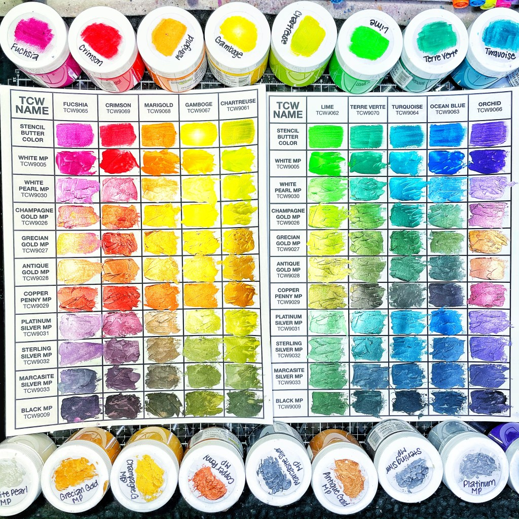 both swatched charts using TCW Stencil Butters and Modeling Pastes