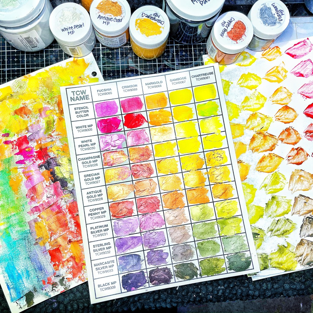 first swatched chart using TCW Stencil Butters and Modeling Pastes