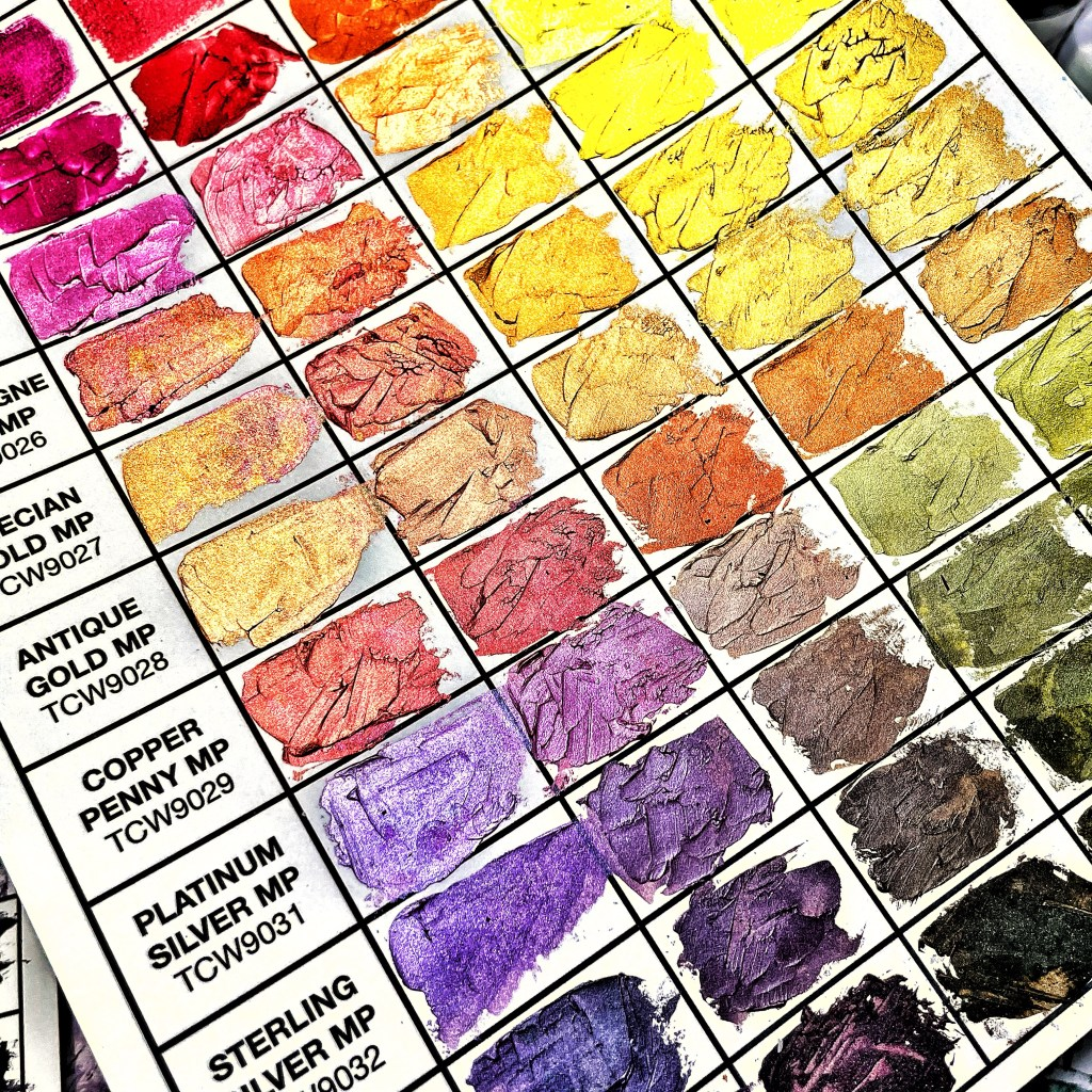 closeup: first swatched chart using TCW Stencil Butters and Modeling Pastes