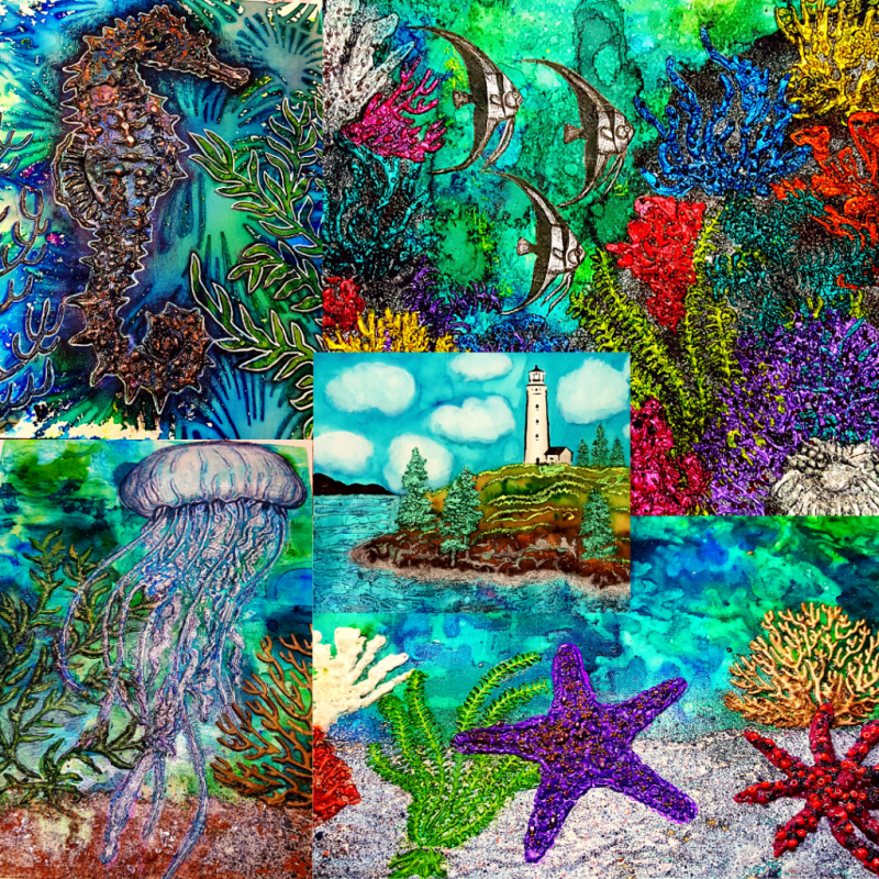 Photo montage of all five completed art works together as the finished series.