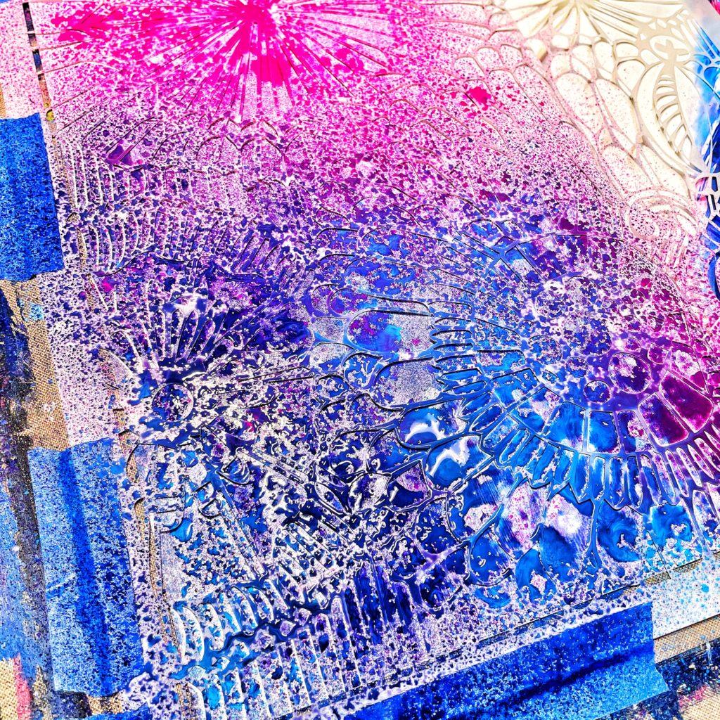 acrylic gloss sprays through 12x12 TCW780 Botanical Dream Stencil