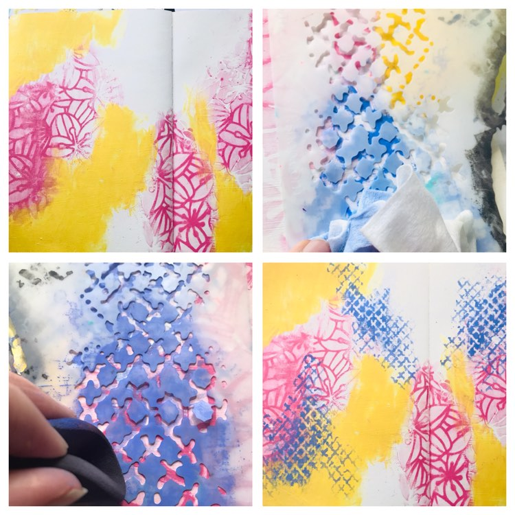 lavender, pink and yellow paint with a netting stencil to make patterns