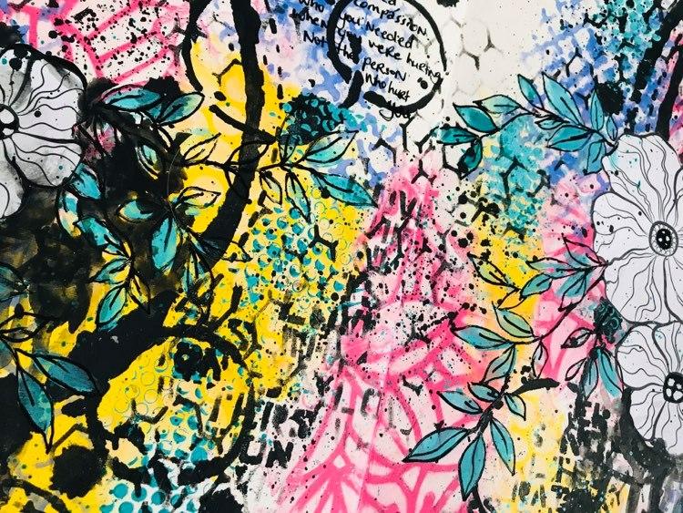 close up of background stencil work