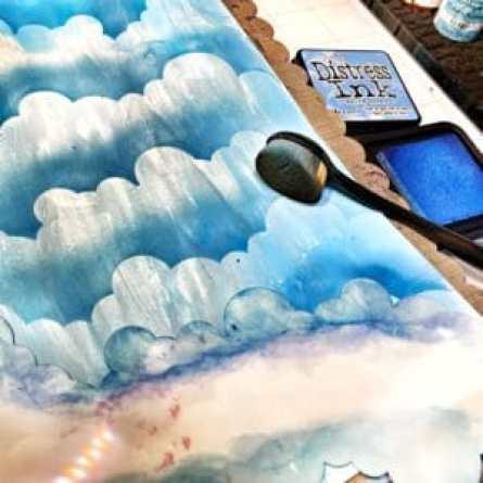 Blue Distress Ink over TCW2308 Clouds Slimline Stencil