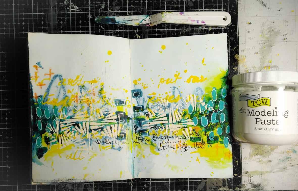 Art journal spread, background stenciling