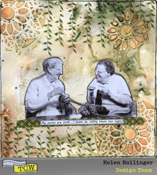 """Finished art journal spread in an 8"""" x 8"""" journal, using TCW stencils and colorsparx."""