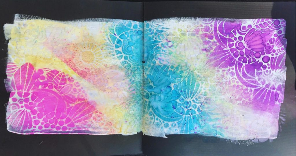 background using sweet posey stencil and dylusions sprays