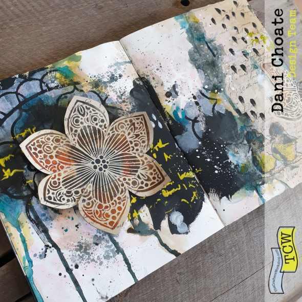 Art Journal Page Winter blooms - TCW700 TCW931 TCW928 TCW541