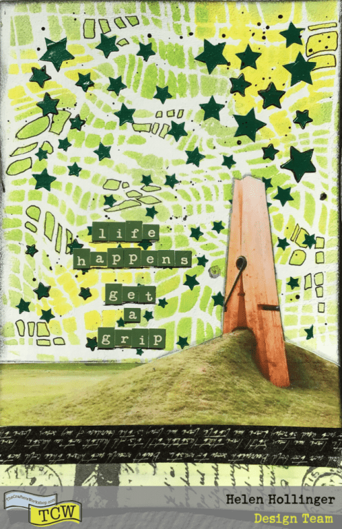 I added some black splatters, some washit tape at the bottom of my spread, a photo and a snarky sentiment.