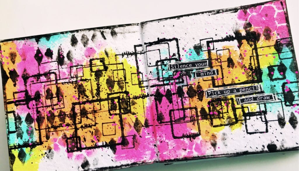 pink, yellow, orange and aqua neon background with black grungy squares art journal page