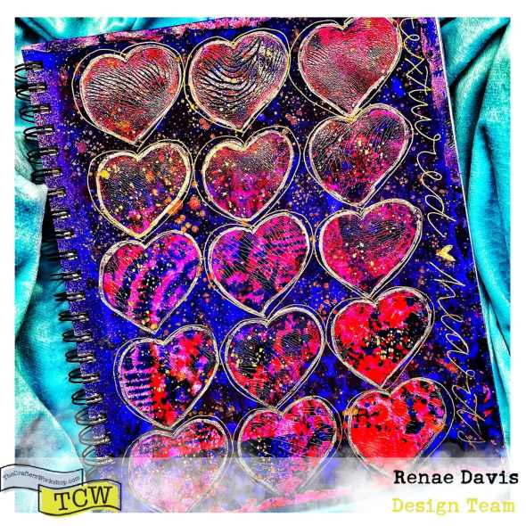 Textured Hearts Mixed Media Art Journal Page by Renae Davis