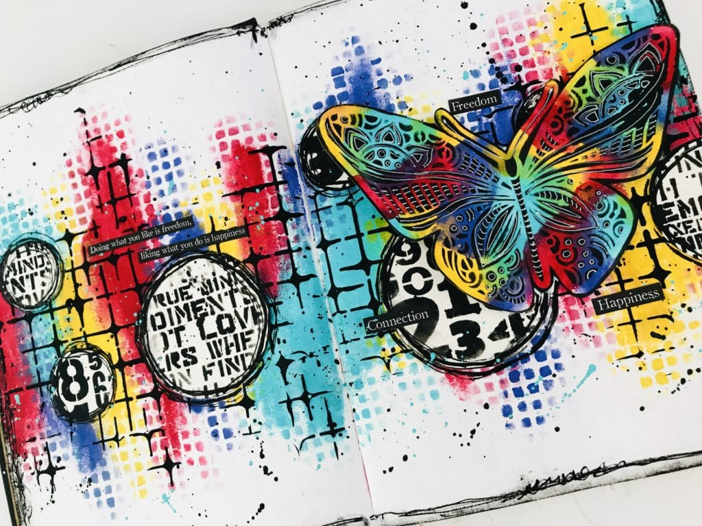 grungy and colorful art journal page