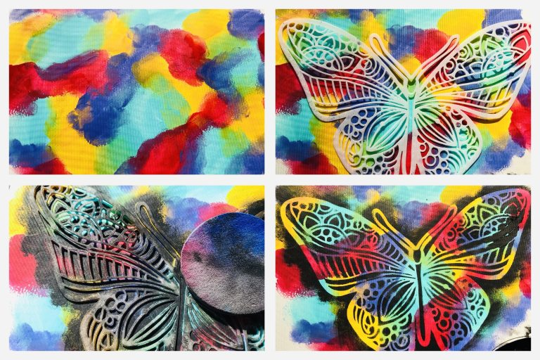 creating a butterfly in rainbow colors