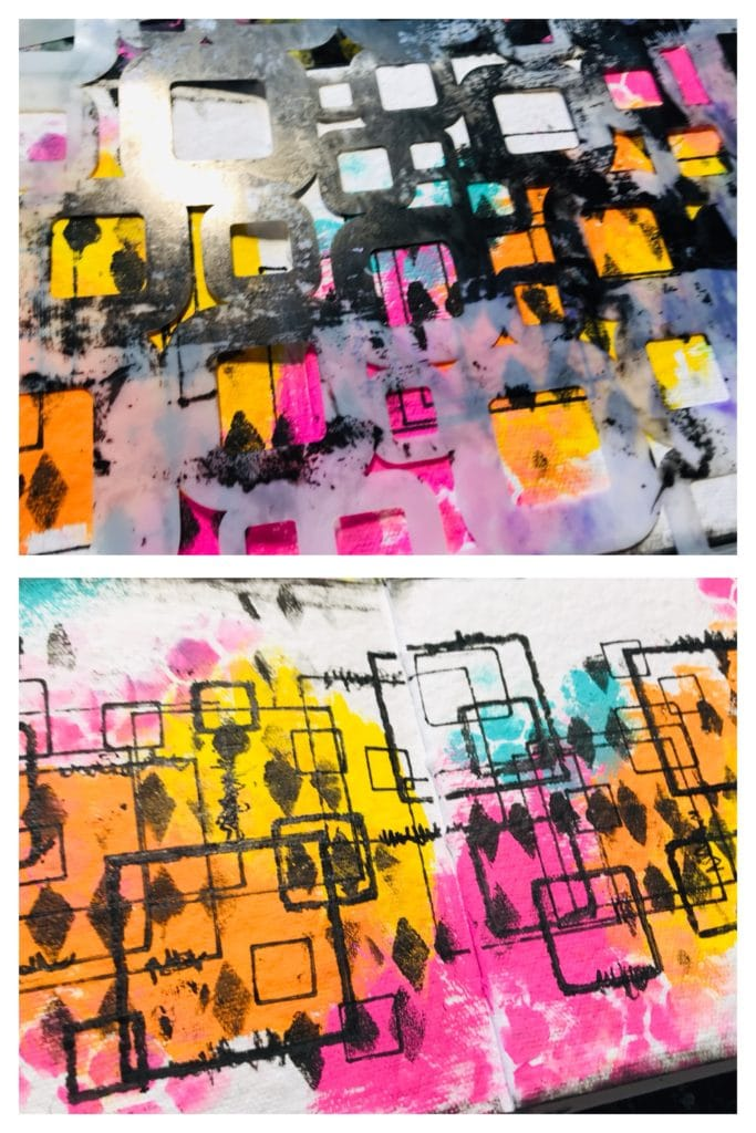 adding different sized squares using a retro squares stencil